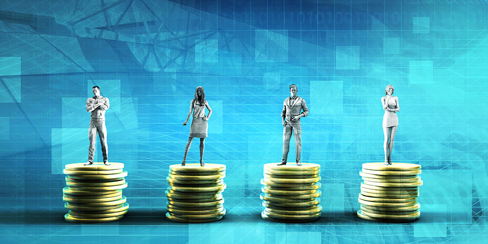 Abstract photo of people standing on money